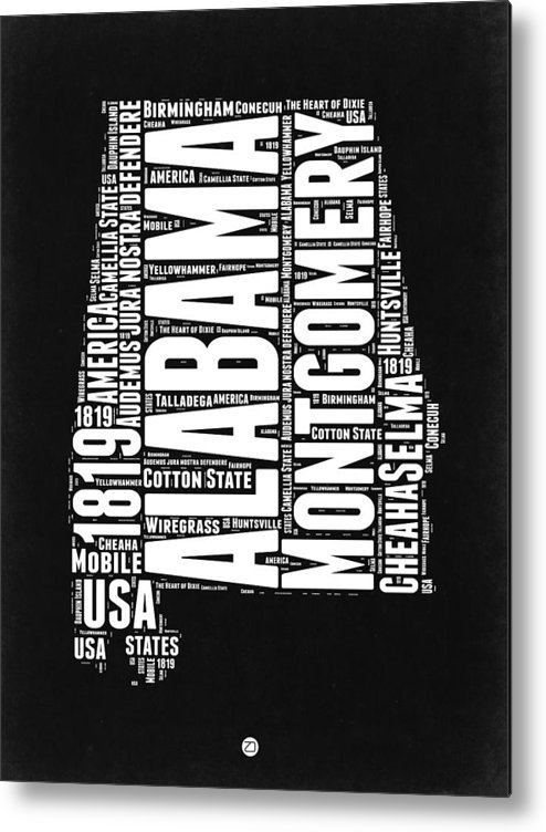 Alabama Metal Print featuring the digital art Alabama Word Cloud Black and White Map by Naxart Studio