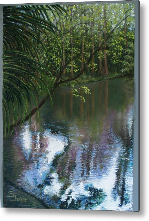 Landscape Metal Print featuring the painting Alafia River Reflection by Susan Jenkins