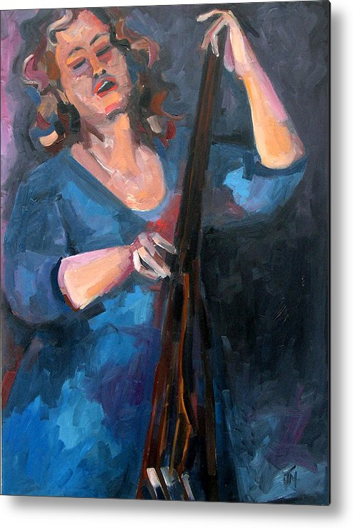 Blues Musician Metal Print featuring the painting AndraFaye by Jackie Merritt