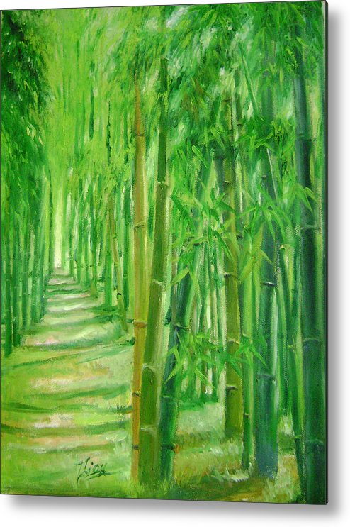 Trees Metal Print featuring the painting Bamboo paths by Lian Zhen