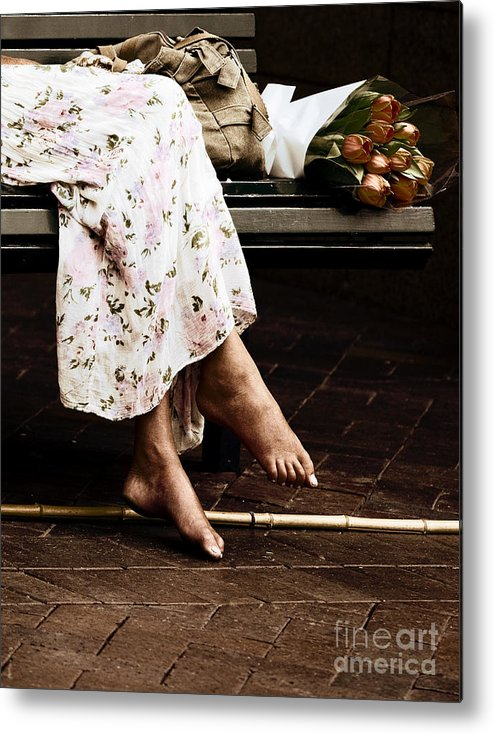 Barefeet Feet Barefoot Tulips Metal Print featuring the photograph Barefoot and tulips by Sheila Smart Fine Art Photography