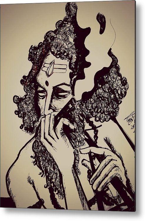 Baul Shiva Smoking Weed Metal Print By Debarshi Ganguly