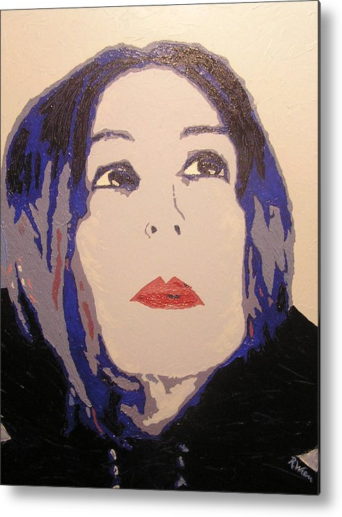 Portrait Metal Print featuring the painting Beauty Beyond the Blue by Ricklene Wren