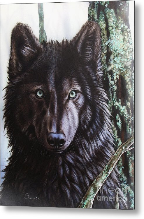 Wolves Metal Print featuring the painting Black Wolf by Sandi Baker