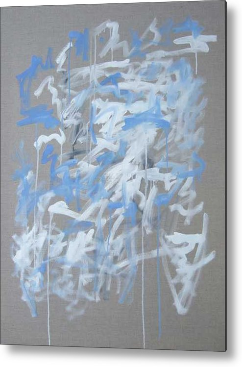 Abstract Metal Print featuring the painting Blue and White Composition by Michael Henderson