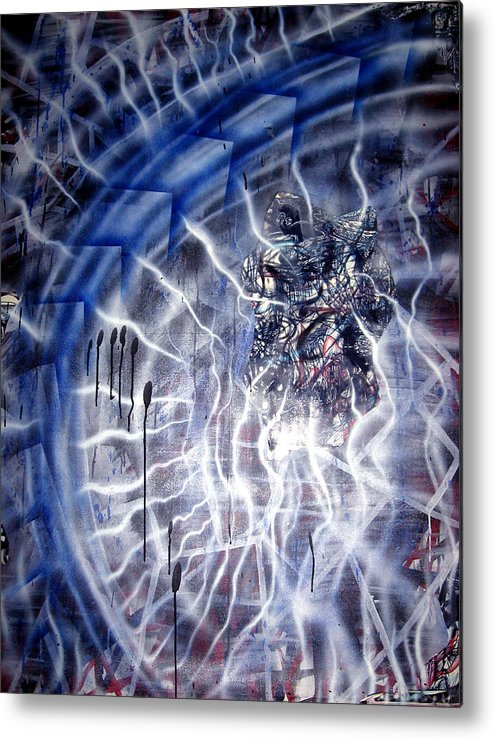 Light Metal Print featuring the painting Blue Lightning by Leigh Odom