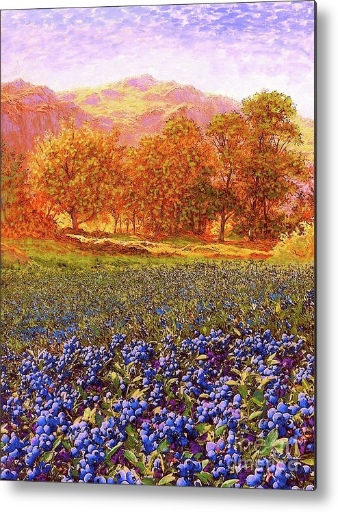 Tree Metal Print featuring the painting Blueberry Fields by Jane Small