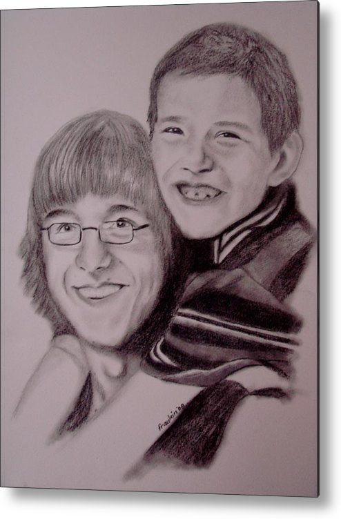 Portrait Metal Print featuring the drawing Brothers For Life by Glory Fraulein Wolfe