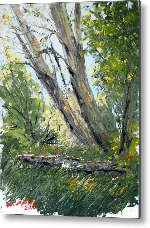 Landscape Painting Metal Print featuring the painting By the River by Boris Garibyan