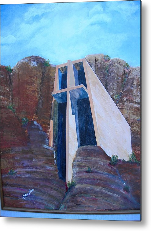 Landscape Metal Print featuring the painting Chapel in the Mountains by Jack Hampton