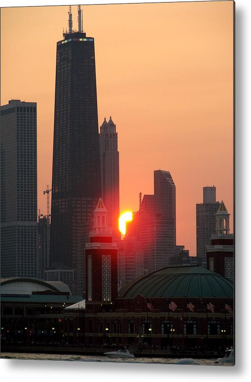 Photography Metal Print featuring the photograph Chicago Sunset by Glory Fraulein Wolfe