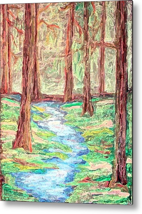 Landscape Metal Print featuring the digital art Deep in the forest by Margie Byrne