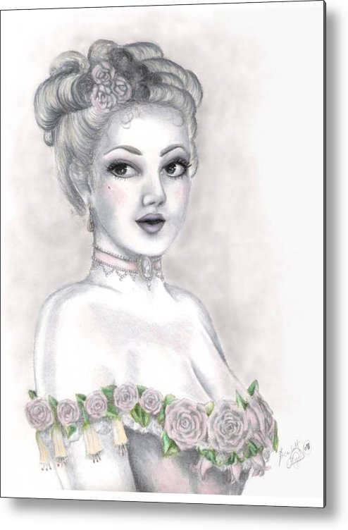 Portrait Metal Print featuring the drawing Delicate Beauty by Scarlett Royal