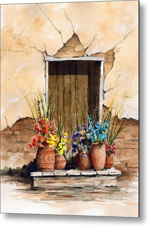 Door Metal Print featuring the painting Door With Flower Pots by Sam Sidders