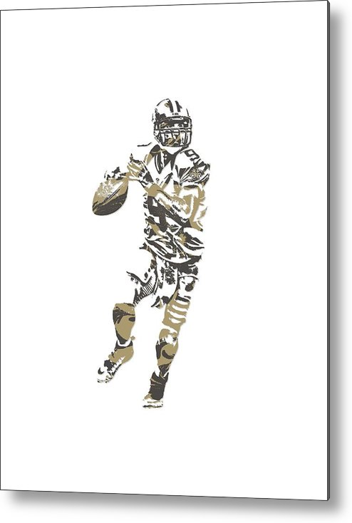 Drew Brees Metal Print featuring the mixed media Drew Brees New Orleans Saints Pixel Art T Shirt 1 by Joe Hamilton