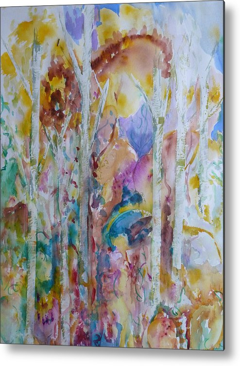 Vibrant Abstract Metal Print featuring the painting Earth Changes and so do I by Phoenix Simpson