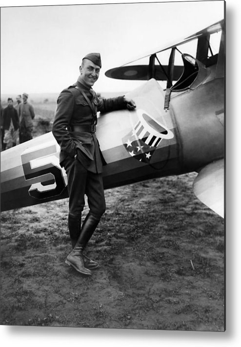 Eddie Rickenbacker Metal Print featuring the photograph Eddie Rickenbacker - Ww1 American Air Ace by War Is Hell Store