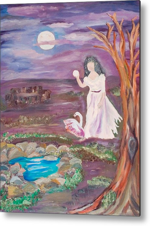 Woman Metal Print featuring the painting Faceless Wishing Well by Mikki Alhart
