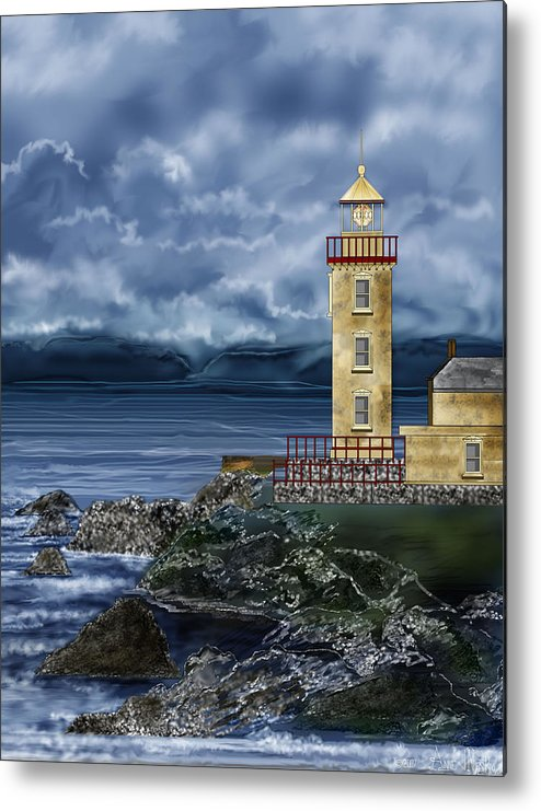Lighthouse Metal Print featuring the painting Fanad Head Lighthouse Ireland by Anne Norskog