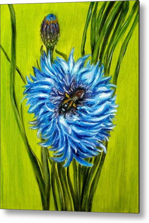 Floral Metal Print featuring the painting Flower and Bee oil painting by Natalja Picugina