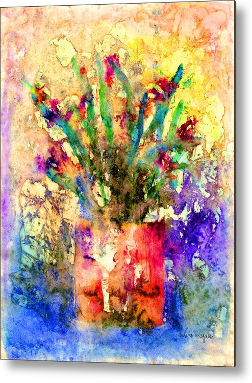 Flower Metal Print featuring the mixed media Flowery Illusion by Arline Wagner