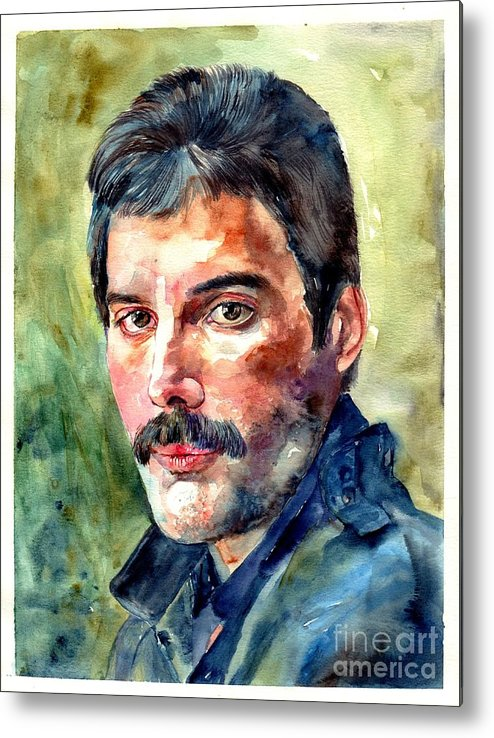 Freddie Metal Print featuring the painting Freddie Mercury watercolor by Suzann Sines