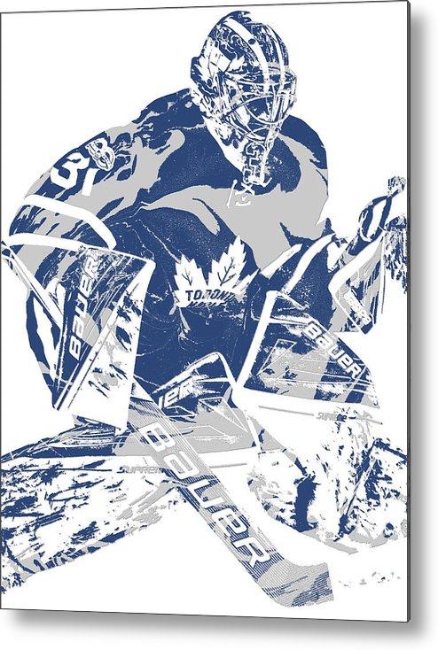 Frederik Andersen Toronto Maple Leafs Pixel Art 2 Metal Print By Joe Hamilton