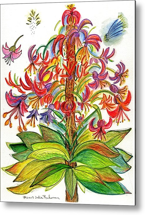 Flowers Nature Botany Drawing Julie Richman Flora Pencil Metal Print featuring the painting Funny flowers on green plant by Julie Richman