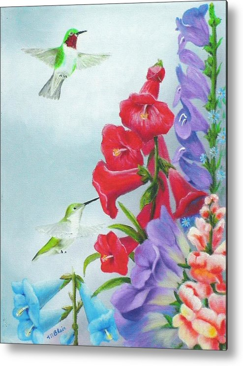 Birds Metal Print featuring the painting Garden Beauties by Merle Blair