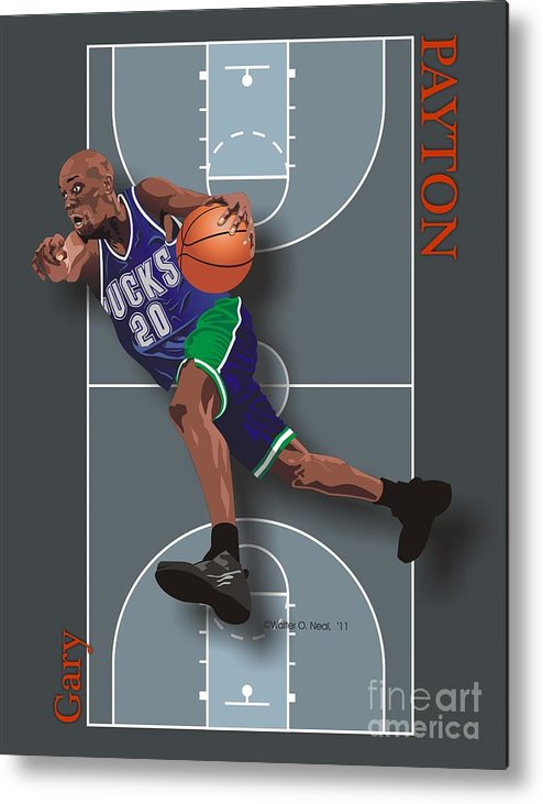 Portraits Metal Print featuring the digital art Gary Payton by Walter Neal