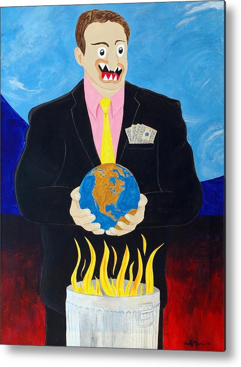 Animals Metal Print featuring the painting Global Warming Truth by Sal Marino