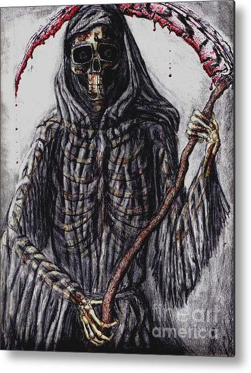 Grim Reaper Metal Print featuring the drawing Grim Reaper Colored by Katie Alfonsi