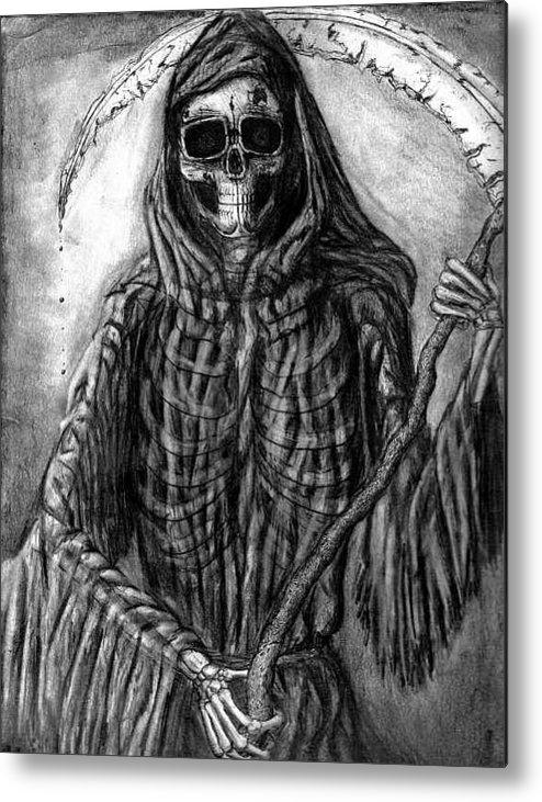 Grim Reaper Metal Print featuring the drawing Grim Reaper by Katie Alfonsi