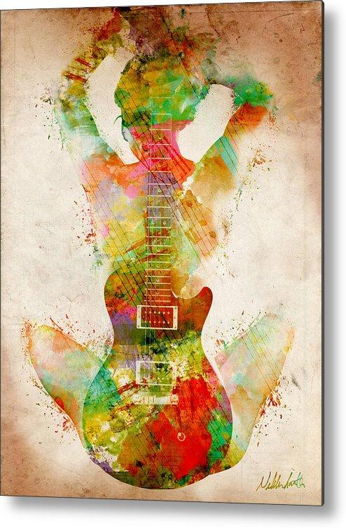 Guitar Metal Print featuring the digital art Guitar Siren by Nikki Smith