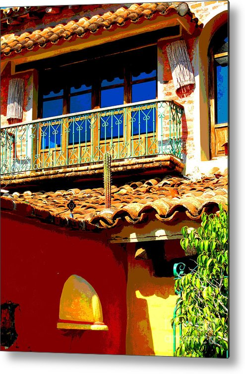 Darian Day Metal Print featuring the photograph Hacienda Balcony by Darian Day by Mexicolors Art Photography