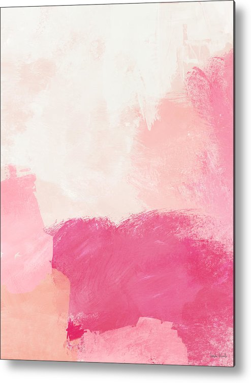 Abstract Metal Print featuring the mixed media History of Pink- Abstract Art by Linda Woods by Linda Woods
