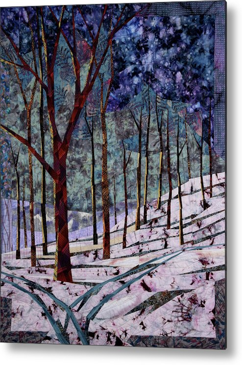 Quilt Metal Print featuring the tapestry - textile Home Before Dark by Linda Beach