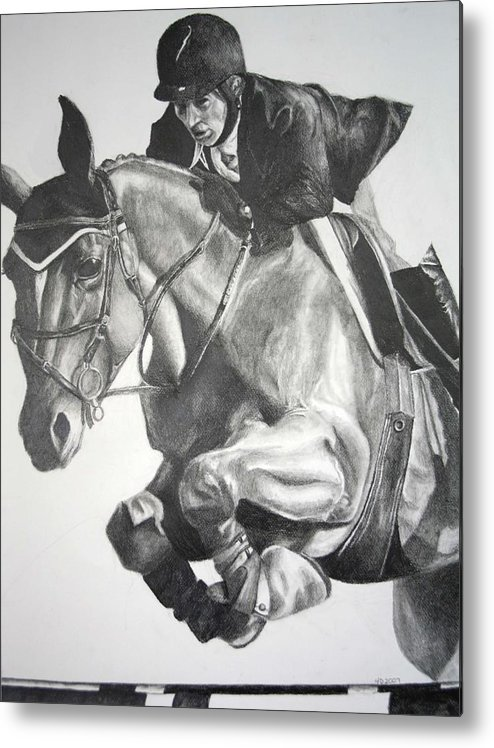 Horse Metal Print featuring the drawing Horse and Jockey by Darcie Duranceau
