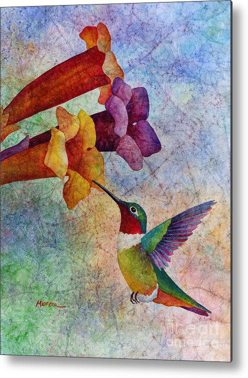 Hummingbird Metal Print featuring the painting Hummer Time by Hailey E Herrera