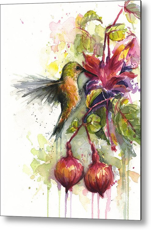 Hummingbird Metal Print featuring the painting Hummingbird and Fuchsia by Olga Shvartsur
