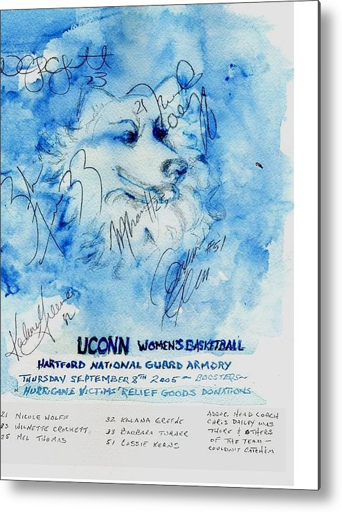 Sports Metal Print featuring the painting Huskies team and Mascot-Armory 2005 by Elle Smith Fagan