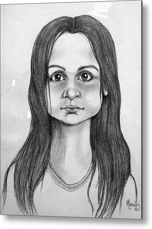 Portrait Metal Print featuring the drawing Immigrant Girl by Marco Morales
