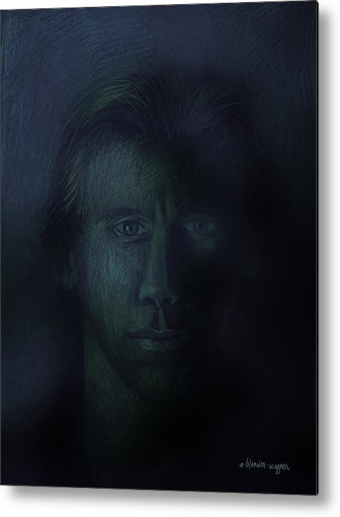Dark Metal Print featuring the pastel In The Shadows Of Despair by Arline Wagner