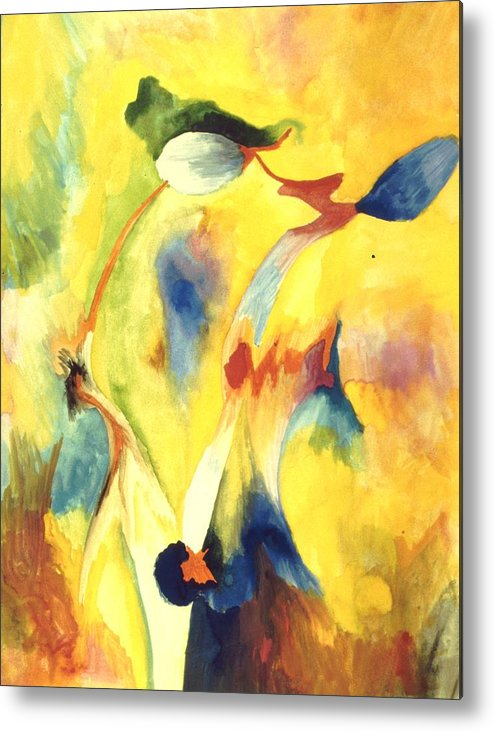 Abstract Metal Print featuring the painting Interactions by Peter Shor