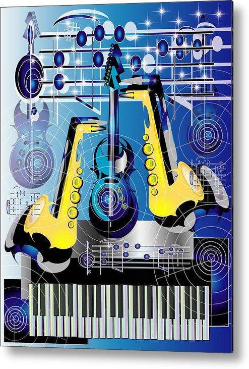 Music Metal Print featuring the digital art Jammin 2 by George Pasini