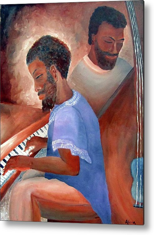 Portrait Metal Print featuring the painting Jazzmen by Alima Newton