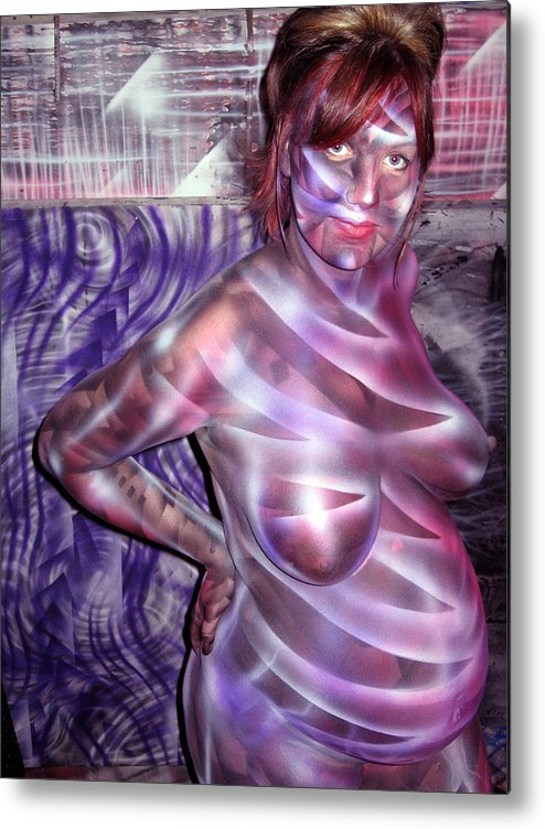 Pregnant Metal Print featuring the painting Kat n Art II by Leigh Odom