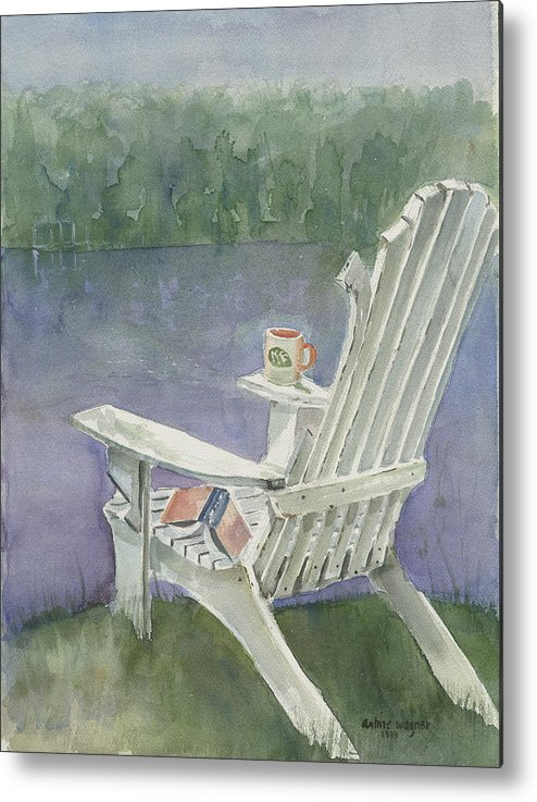 Chair Metal Print featuring the painting Lawn Chair By The Lake by Arline Wagner