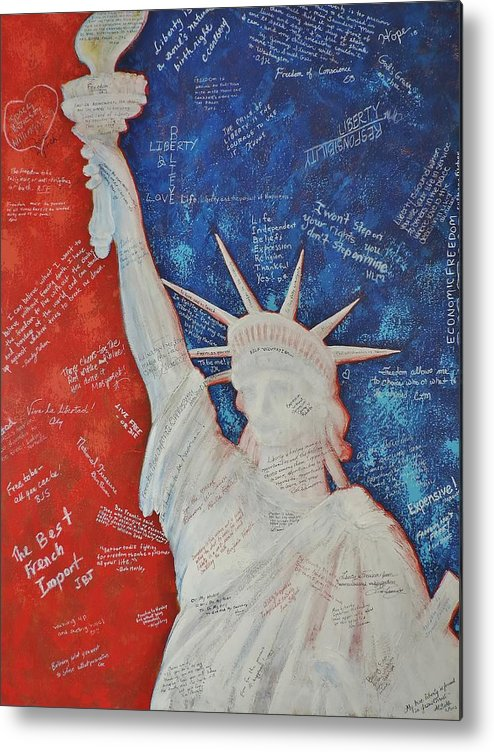Statue Of Liberty Metal Print featuring the painting Liberty Is... by Margaret Bobb