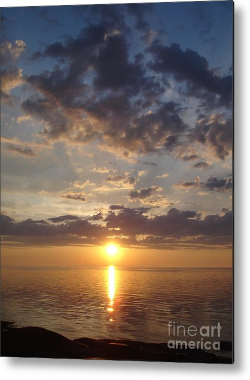 Sunset Metal Print featuring the photograph Lit Bay by Chad Natti